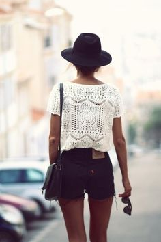 hat, lace white top, denim cut offs. boho chic. bohemian.