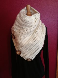 Chunky Crochet Cowl with buttons by LittleRedFarmHouse on Etsy, $35.00