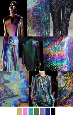 "This trend forcast can be translated into a color and fabric story. ""City Slick"" uses melted colors to create the illusion of an oil spill. The result is metallic and iridescent, which gives an edgy, urban quality to this unisex trend. Trend Fashion, Moda Fashion, Fashion Design, Mode Inspiration, Color Inspiration, Color Trends, Color Combinations, Winter Typ, Fashion Forecasting"