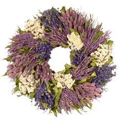 - Our Violet Patchwork Garden Wreath is designed with deep purple larkspur, violet colored phalaris, cream sinuata flowers, natural leaves and lavender sudan grass. - Beautiful dried flowers in tones