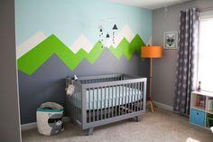 Modern Adventure Themed Nursery - love the rustic, mountain mural!