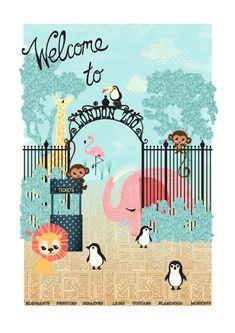 London Zoo Children's Art Nursery Print by FrangipaniPosters Nursery Prints, Nursery Art, Zoo Drawing, Zoo Art, Kids Poster, Custom Art, Giclee Print, Baby Gifts, New Baby Products