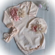 Baby Girl Coming Home Outfit Newborn Girl Gown by PoshBabyBlooms