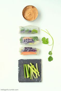 hello summer rolls with peanut sauce!photography & food styling by Panka Milutinovits / hello garlic!
