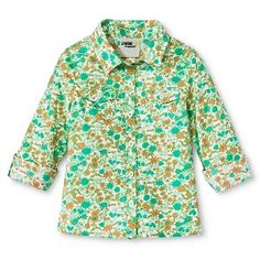 Infant Toddler Girl's Floral Button Down - Emerald
