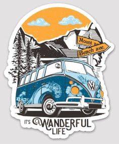 It's A Wanderful Life Sticker is part of Vans stickers - Hippie sticker - Cute stickers - V Tumblr Stickers, Diy Stickers, Printable Stickers, Laptop Stickers, Sticker Ideas, Vw T, Volkswagen, Accessoires Iphone, Journal Stickers