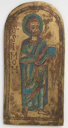 Plaque of St. Simon  Date:     12th century Culture:     German Medium:     Champlevé enamel, copper-gilt Dimensions:     Overall: 5 1/4 x 2 9/16 x 1/16 in. (13.4 x 6.5 x 0.2 cm) Classification:     Enamels Credit Line:     Gift of George Blumenthal, 1941 Accession Number:     41.100.142 Metropolitan Museum of Art, New York