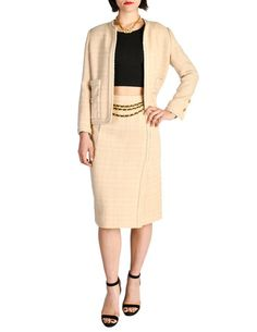 1f097c5ad6c8a Chanel Vintage Pale Tan Wool Two-Piece Suit - from Amarcord Vintage Fashion  Classic Suit