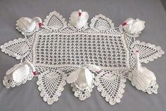 Large Vintage Crocheted Swan Doily, 6 Swans, 16X24""