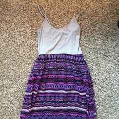 Multi colored maxi dress Multi colored maxi dress, Cotton top, adjustable straps, worn once. Forever 21 Dresses Maxi