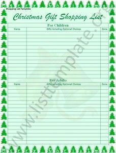 Christmas Shopping List Template