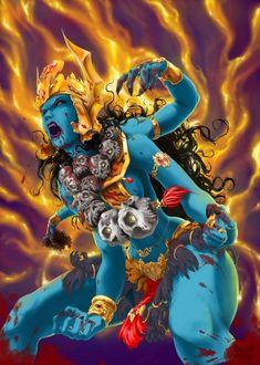 the badass Hindu goddess Kali Shiva Art, Shiva Shakti, Hindu Art, Kali Hindu, Kali Tattoo, Durga, Hanuman, Krishna, Character Art