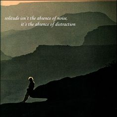 "Quote: ""Solitude isn't the absence of noise, it's the absence of distraction."""