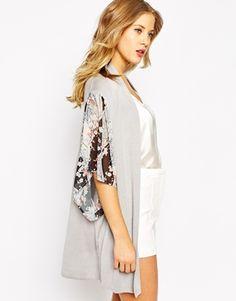 Enlarge Oasis Kimono Sleeve Woven Front Cardi