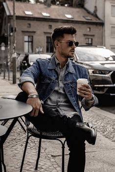 Fall street style combo featuring a denim jacket black denim black leather chelsea boots wrist accessories sunglasses gray button up shirt Urban Fashion, Trendy Fashion, Mens Fashion, Fashion Ideas, Fashion Boots, Fashion Fashion, Mens Autumn Fashion, Leather Fashion, Fashion Outfits