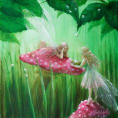 ≍ Nature's Fairy Nymphs ≍ magical elves, sprites, pixies and winged woodland faeries - Fairies Collecting Raindrops - artist unknown