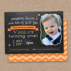 First Fall Birthday Invitation, Chalkboard and Chevron DIY Printable