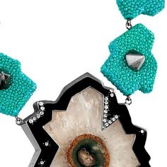 """Radiolarian by Giuliana Mancinelli Bonafaccia - Turquoise galuchat leather necklace with silver dipped in black ruthenium, rock crystal """"flower"""" and diamonds    Follow us on Facebook:  https://www.facebook.com/pages/Giuliana-Mancinelli-Bonafaccia/136138406444528"""