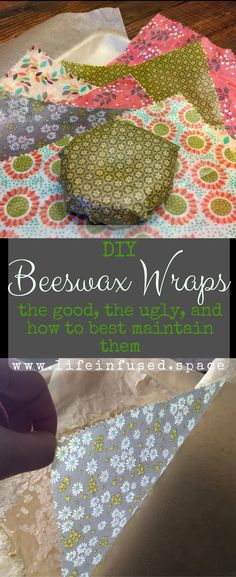 DIY Beeswax Wraps - the good, the ugly, and how to best maintain them! I was introduced to beeswax wraps about two years ago, when I received a package of these Vermonter-made, earth-kind goodies as a gift from my mom. Diy Beeswax Wrap, Bees Wax Wraps, Bees Wax Wrap Diy, Furoshiki, Reuse Recycle, Homemade Gifts, Diy And Crafts, Paper Crafts, Diys