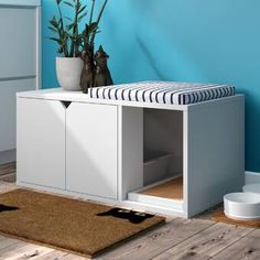 Love your cat but could do without the litter box? Hide your furry friend's business with this litter box enclosure. Hiding Cat Litter Box, Hidden Litter Boxes, Litter Box Covers, Cat Litter Boxes, Cat Litter Cabinet, Cat Litter Box Enclosure, Best Cat Litter, Cat Cages, Cat Perch