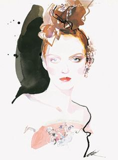 Illustration by David Downton          Lily Cole in Christian LaCroix couture spring/summer 2005