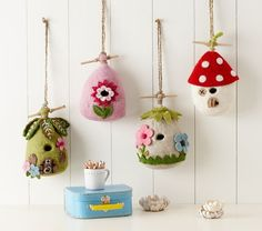 Felt Wool Birdhouses | Pottery Barn Kids. Saw these in a cute shop in Northern Cal...should have got one!!