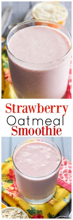 If you're looking for a delicious smoothie recipe to add to your collection, you need this Strawberry Oatmeal Smoothie recipe. It's full of lots of good-for-you stuff and keeps you full! (smoothie recipes with spinach protein) Smoothie Recipes Oatmeal, Strawberry Oatmeal Smoothie, Yummy Smoothie Recipes, Breakfast Smoothie Recipes, Shake Recipes, Strawberry Banana, Juice Recipes, Banana Recipes, Milk Recipes