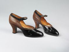 Maker unknown  England, Great Britain  1924  Patent leather, lizard skin