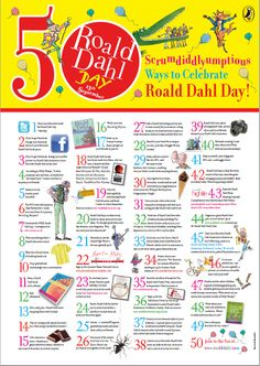 Poster: 50 Scrumdiddlyumptious Ways to Celebrate Roald Dahl Day - Sept Primary Teaching, Teaching Reading, Teaching English, Learning, English Class, Guided Reading, Teaching Ideas, Roald Dahl Day, Roald Dahl Books