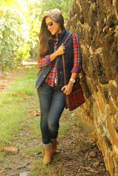plaid, cozy vest and boots. Perfect for fall. Fall fashion 2013