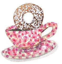 Cup and donut by Susan Branch