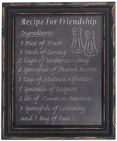 Recipe for friendship sign is a prefect present for your best friends. £17.99