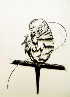 hand cut paper artwork 【parakeet enjoying music】 by Sayaka Imai…