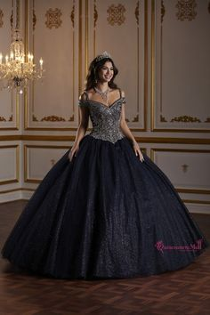 Fiesta Quinceanera 56377 Sparkle tulle ball gown featuring a fully beaded bodice and a cold shoulder neckline. This look is finished with a corset back. Sweet 16 Dresses, 15 Dresses, Stylish Dresses, Fall Dresses, Pretty Dresses, Dresses Online, Beautiful Dresses, Dress Outfits, Fashion Dresses