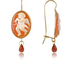 Del Gatto Angel w/Flute Cornelian Cameo Drop Earrings ($498) ❤ liked on Polyvore featuring jewelry, earrings, sea shell jewelry, shell jewelry, 18k jewelry, african earrings and african jewelry