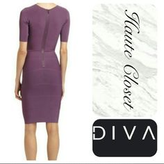 Bandage dress BCBG Purple BCBG bandage dress is the perfect transitional piece every woman needs! Its a closet must have! Quality dress with great fit and stylish flare. This dress is the perfect combination of conservative and fun. Great to wear in the office with a stylish scarf and/or blazer, and then switch the shoe and change out your accessories for and immediate secondary destination! Heavy duty fabric and zipper designed to last! Great dress :) Dresses