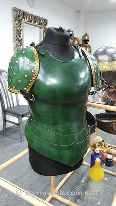 Female larp armor set in our showroom Us Armor, Larp Armor, Funny April Fools Pranks, Polyurethane Resin, Fantasy Armor, High Fantasy, Fantasy Inspiration, Dark Ages, Custom Items