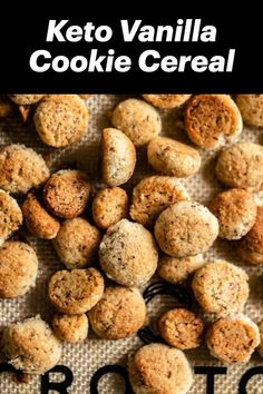 This gluten free and keto vanilla cereal is like eating miniature cookies.for breakfast! Low Carb Cereal, Keto Cereal, Gluten Free Cereal, Buttery Cookies, Vanilla Cookies, Keto Cookies, Low Carb Sweets, Low Carb Desserts, Healthy Eats