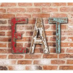 "Gracie Oaks This wooden wall décor is perfect for a kitchen. The wooden letters spell out, ""Eat"" in weathered red, white and blue paint. Made of natural fir wood. Letter Wall Decor, Wooden Wall Decor, Wall Decor Set, Farmhouse Wall Decor, Flower Wall Decor, Wooden Walls, Metal Walls, Modern Farmhouse, Art Decor"