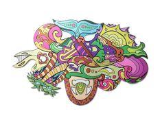 Grafidoodle Praia 2. Painel impresso e recortado em ACM (Aluminio Composto), misturando os estilos grafite e dooodle.