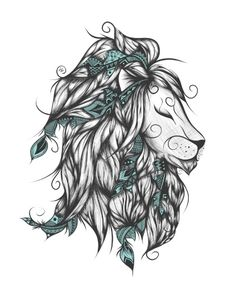 Poetic Lion Turquoise Art Print by loujah Lion Tattoo, Arm Tattoo, Sleeve Tattoos, Time Tattoos, Cool Tattoos, Modern Tattoos, Turquoise Throw Pillows, Awareness Tattoo, Turquoise Art