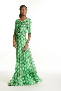 My Intelligent Style Reco Maxi T Dress Green Print Tracy Reese