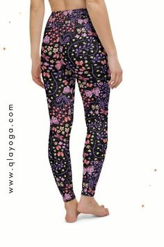 Butterfly Leggings, Purple and Pink Floral Leggings, Tropical Flower Print, Shaping Activewear, Women Yoga Pants, Athletic Apparel Workout Floral Leggings, Yoga Leggings, Yoga Pants, Tropical Flowers, Festival Outfits, Flower Prints, Purple, Pink, Activewear