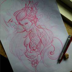 #dibujo #drawing #gheisa #mujer #flores #palillos #japones #garza  #tattoo