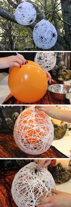 DIY Halloween Crafts for the Kids to make. These Spider web egg sacks look neat!