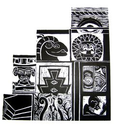 mexico ancient linocut by Anna Robertson