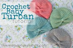 Free Crochet Pattern Tutorial Baby Hat Turban Beanie