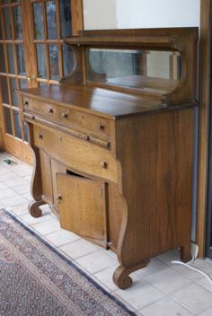 Antique Oak Mirror Back Sideboard Buffet