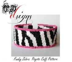 Funky Zebra- Peyote Beaded Cuff Bracelet Pattern - PDF File (Buy 2 patterns get one FREE) via Etsy