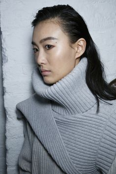 Beautiful grey chunky rib knit sweater/jumper by TF Knitwear